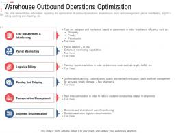 Warehouse Outbound Operations Optimization Stock Inventory Management Ppt Information