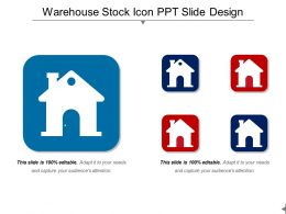 Warehouse Stock Icon Ppt Slide Design