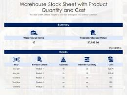 Warehouse Stock Sheet With Product Quantity And Cost