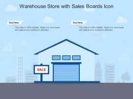 Warehouse Store With Sales Boards Icon