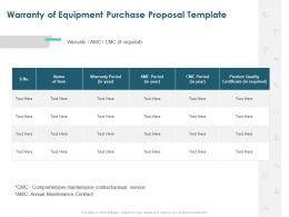 Warranty Of Equipment Purchase Proposal Template Ppt Powerpoint Slide Portrait