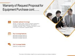 Warranty Of Request Proposal For Equipment Purchase Cont Ppt Powerpoint Presentation File