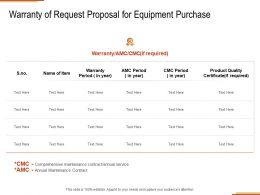 Warranty Of Request Proposal For Equipment Purchase Ppt Powerpoint Presentation Ideas