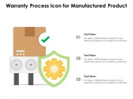 Warranty Process Icon For Manufactured Product
