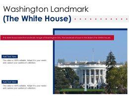 Washington Landmark The White House Powerpoint Presentation PPT Template