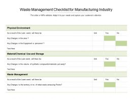 Waste Management Checklist For Manufacturing Industry