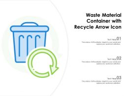 Waste Material Container With Recycle Arrow Icon