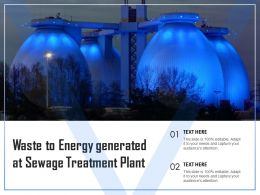 Waste To Energy Generated At Sewage Treatment Plant