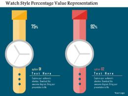 Watch Style Percentage Value Representation Flat Powerpoint Design