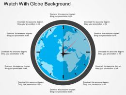Watch With Globe Background Flat Powerpoint Design