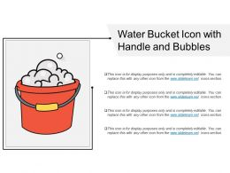 Water Bucket Icon With Handle And Bubbles