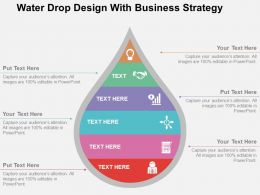 Water Drop Design With Business Strategy Flat Powerpoint Design
