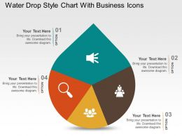 Water Drop Style Chart With Business Icons Powerpoint Slides