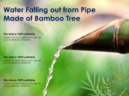 Water Falling Out From Pipe Made Of Bamboo Tree