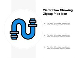 Water Flow Showing Zigzag Pipe Icon