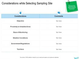 Water Management Considerations While Selecting Sampling Site Ppt Diagrams