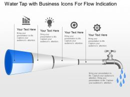 Water Tap With Business Icons For Flow Indication Powerpoint Template Slide