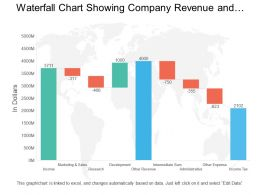 Waterfall Chart Showing Company Revenue And Profit