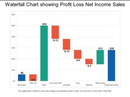 Waterfall Chart Showing Profit Loss Net Income Sales