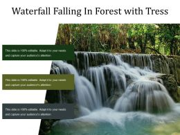 Waterfall Falling In Forest With Tress