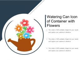 Watering Can Icon Of Container With Flowers
