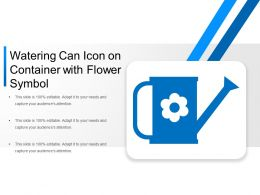 Watering Can Icon On Container With Flower Symbol