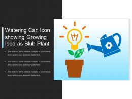 Watering Can Icon Showing Growing Idea As Blub Plant