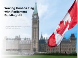 Waving Canada Flag With Parliament Building Hill
