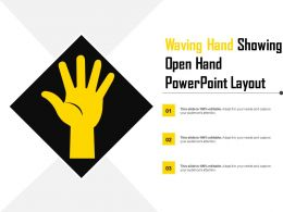 Waving Hand Showing Open Hand Powerpoint Layout