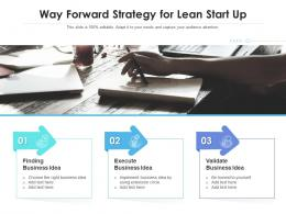 Way Forward Strategy For Lean Start Up