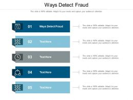 Ways Detect Fraud Ppt Powerpoint Presentation Model Show Cpb