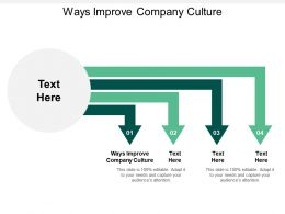 Ways Improve Company Culture Ppt Powerpoint Presentation Icon Designs Download Cpb