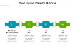 Ways Improve Insurance Business Ppt Powerpoint Presentation Icon Gridlines Cpb