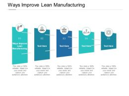 Ways Improve Lean Manufacturing Ppt Powerpoint Presentation Design Cpb