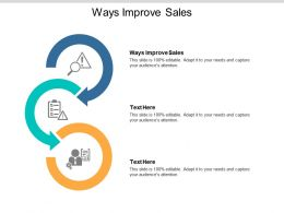 Ways Improve Sales Ppt Powerpoint Presentation Styles Smartart Cpb