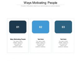 Ways Motivating People Ppt Powerpoint Presentation Infographic Template Rules Cpb