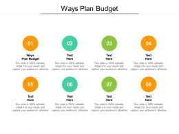 Ways Plan A Budget Ppt Powerpoint Presentation Outline Designs Cpb