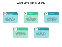 Ways Save Money Energy Ppt Powerpoint Presentation Model Inspiration Cpb