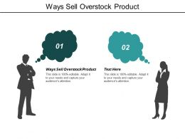 Ways Sell Overstock Product Ppt Powerpoint Presentation Infographic Template Display Cpb