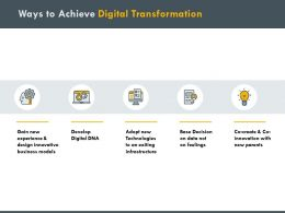 Ways To Achieve Digital Transformation Models Ppt Powerpoint Presentation Professional Gridlines