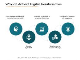 Ways To Achieve Digital Transformation Technologies Ppt Powerpoint Presentation Icon Introduction