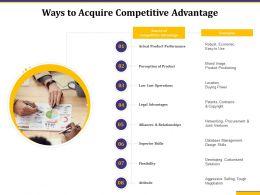 Ways To Acquire Competitive Advantage Legal Advantages Ppt Infographics