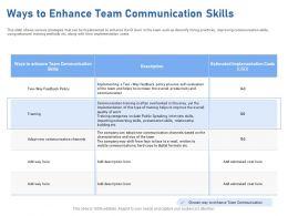 Ways To Enhance Team Communication Skills Hard Copy Ppt Powerpoint Presentation Slides Rules
