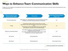 Ways To Enhance Team Communication Skills Helps Often Ppt Powerpoint Presentation Outline Portfolio