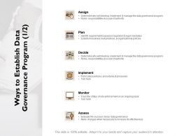 Ways To Establish Data Governance Program Assign Ppt Powerpoint Presentation Gallery Portfolio