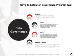 Ways To Establish Governance Program Ppt Powerpoint Presentation Gallery Inspiration