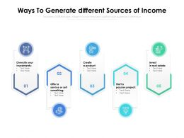 Ways To Generate Different Sources Of Income