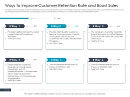 Ways To Improve Customer Retention Rate And Boost Sales Ppt Icons