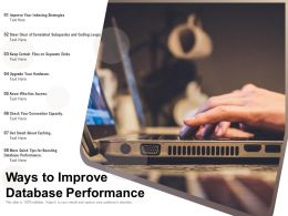 Ways To Improve Database Performance