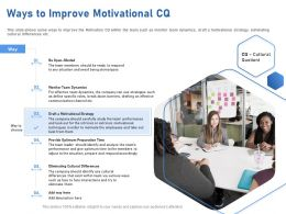 Ways To Improve Motivational CQ Barriers Ppt Powerpoint Presentation Slides Picture